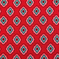 Americana Summer Crinkle Rayon Fabric-Red Floral Diamond