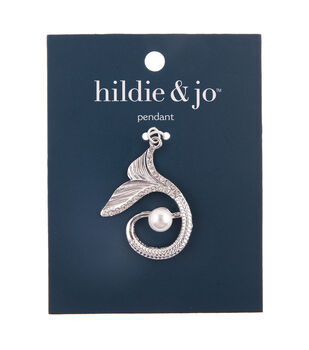 hildie & jo Zinc Alloy, Iron & Acrylic Beauty Tail Pendant-Silver