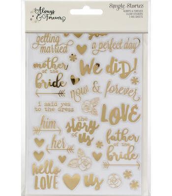 Simple Stories Always & Forever 3 pk 4''x6'' Clear Sticker Sheets