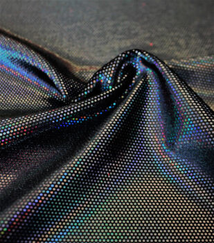 Apparel Stretch Velvet Fabric -Black Foil