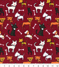 Snuggle Flannel Fabric -Pups And Bones Red