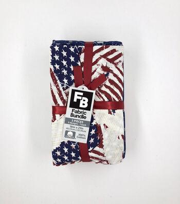 Fat Quarter 5 pk Cotton Fabric Bundle 18''x21''-Patriotic Stripes