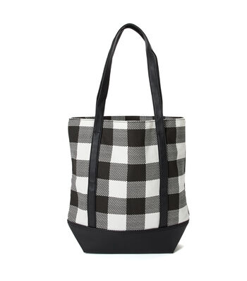 Canvas Tote Bag-Black & White Plaid