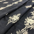 Demim Dark Wash Cotton Fabric-Linear Floral Embroidery