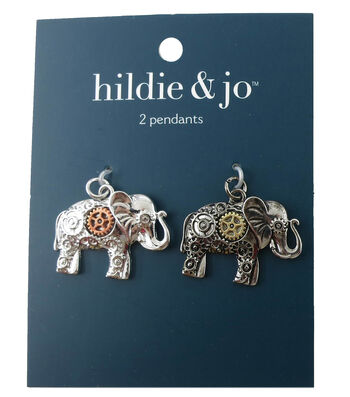 hildie & jo 2 Pack Elephant Silver Charms-Gear Accents
