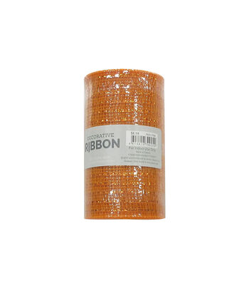 Decorative Ribbon Metallic Deco Mesh 5.5''x10 yds-Orange