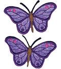 Wrights Iron-On Appliques-Iridescent Butterflies 2-7/8\u0022X1-1/4\u0022 2/Pkg