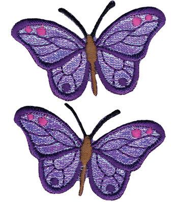 "Wrights Iron-On Appliques-Iridescent Butterflies 2-7/8""X1-1/4"" 2/Pkg"