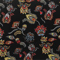 Knit Prints Double Brushed Fabric-Black Floral Paisley