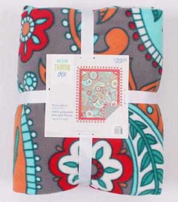 """No-Sew Throw Fleece Fabric 72""""-Gray Aqua Red Paisley Floral"""