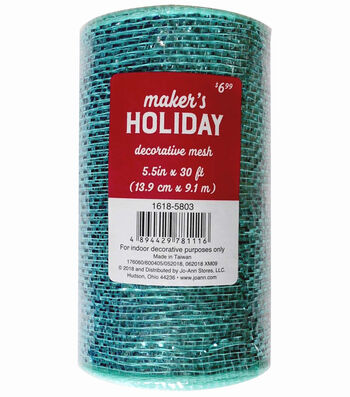 Maker's Holiday Metallic Decorative Mesh Ribbon 5.5''x30'-Light Blue