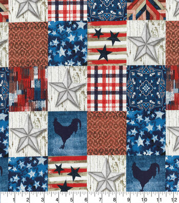 Patriotic Cotton Fabric-Scenic Rustic Block