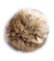 Bergere De France Synthetic Fur Pom Pom 15cm-Beige Flecked, , hi-res