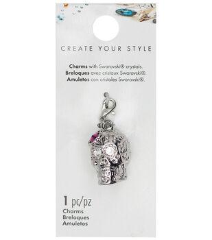 Swarovski Create Your Style Sugar Skull Charm-Purple Crystal