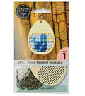 Cross Stitch Style Wooden Pendant Necklace-Egg Shape