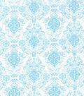 Christmas Cotton Fabric 43\u0022-Blue Glitter Damask