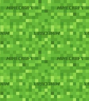 Minecraft Cotton Fabric -Pixels with Logo