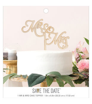 Save the Date 8''x6.9'' Wooden Mr & Mrs Cake Topper