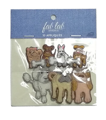 Fab Lab 10 pk Dog Iron-on Applique Patches