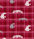 Washington State University Cougars Cotton Fabric -Plaid