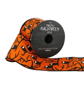 Maker's Halloween Ribbon 2.5''x12'-Black Owls on Orange