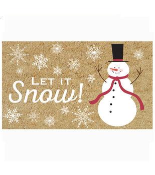 Handmade Holiday Christmas 17.71''x29.52'' Coir Doormat-Let it Snow!