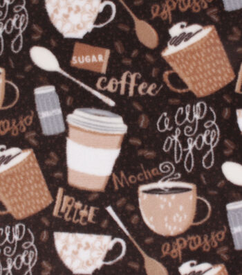 Anti-Pill Plush Fleece Fabric-Coffee Time