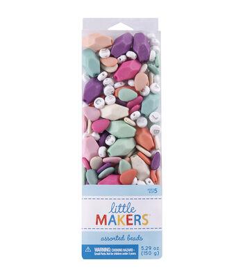 Little Maker's Rubber & Alphabet Beads-Pastel Multi