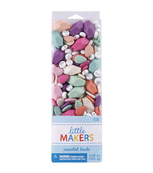 Little Makers 5.29 oz. Assorted Beads-Multi Pastel & Alphabet on White