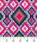 Snuggle Flannel Fabric -Pink Navy Aztec