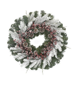 Handmade Holiday Christmas Frosted Berry & Pinecone Layered Wreath