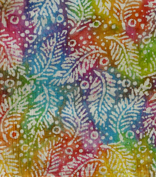 Textured Cotton Batik Apparel Fabric-White Fronds on Multicolor