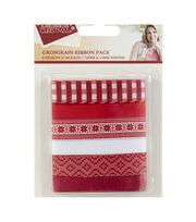 Sara Davies Signature Scandinavian Christmas Ribbon-Red, White, , hi-res