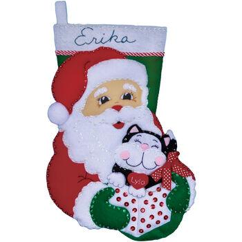Design Works Felt Applique Kit Santa& Kitten Stocking