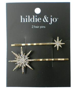 7f8e8555ea4 hildie   jo 2 Pack Gold Hair Pins-Clear Round Crystals Stars