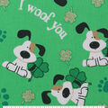 St. Patrick\u0027s Day Cotton Fabric-I Woof You & Glitter Shamrocks