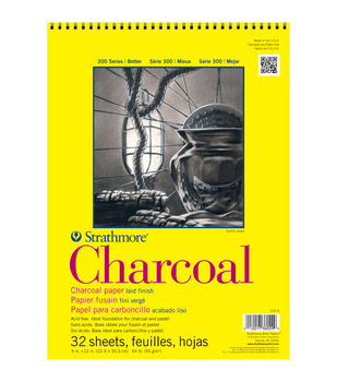 "Strathmore Charcoal Paper Pad 9""X12""-64lb White 32 Sheets"