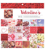 "American Crafts Single-Sided Paper Pad 12""X12"" 48/Pkg-Valentine's, , hi-res"