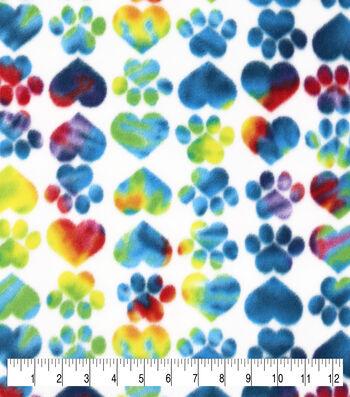 Anti-Pill Plush Fleece Fabric-Tie Dye Heart Paws