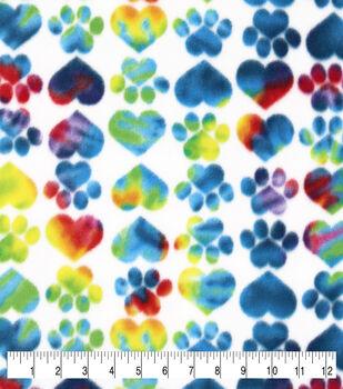 Valentine's Day Anti-Pill Plush Fleece Fabric-Tie Dye Heart Paws