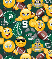 Michigan State University Spartans Cotton Fabric 43''-Emoji, , hi-res