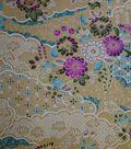 Premium Cotton Print Fabric -Beige & Metallic Rolling Garden