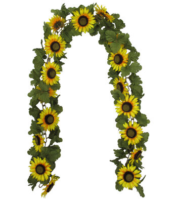Blooming Autumn 66'' Sunflower & Leaves Chain Garland-Yellow
