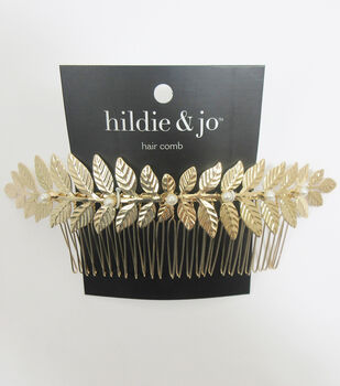 a8b28b16d78efe hildie   jo Large Gold Leaf Hair Comb with Pearls