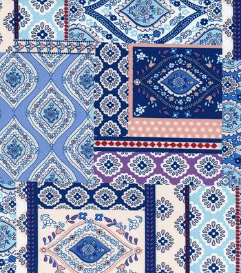 "Silky Stretch Crepe Fabric 57""-Folk Patchwork"