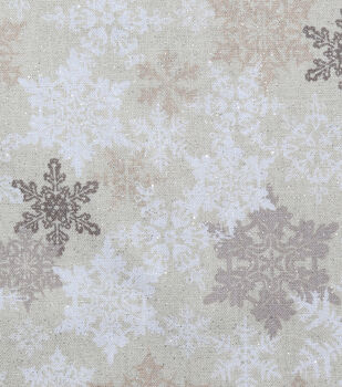 Christmas Glitter Cotton Fabric-Stamped Snowflakes on Cream