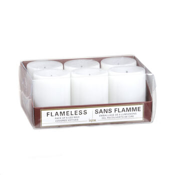 Inglow 6 Pack White Votive Unscented