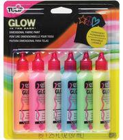 Tulip 3D Fashion Paint 1-1/4 Ounces 6/Pkg-Glow, , hi-res