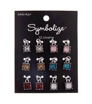 hildie & jo Symbolize 12 pk Zinc Alloy & Glass Square Charms, , hi-res