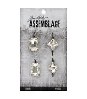 Tim Holtz Assemblage Pack of 4 Faceted Gems Charms, , hi-res